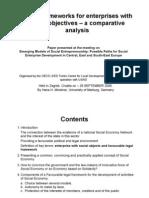 Legal Frameworks for Social Entrepreneurship - A Comparative Perspective