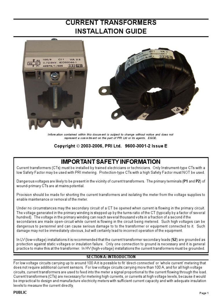 9600 3001 2 E Cts Installation Guide A4 Transformer Electric Current Diagram For Meter Base Wiring With