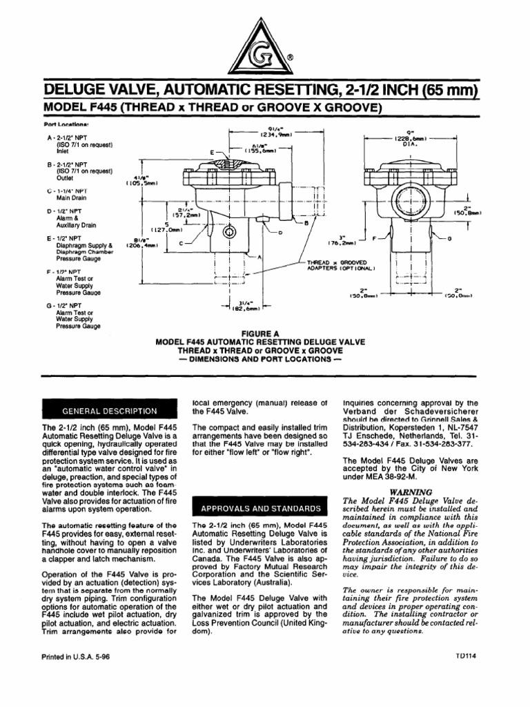 Model f445 deluge valve fire sprinkler system valve ccuart Gallery
