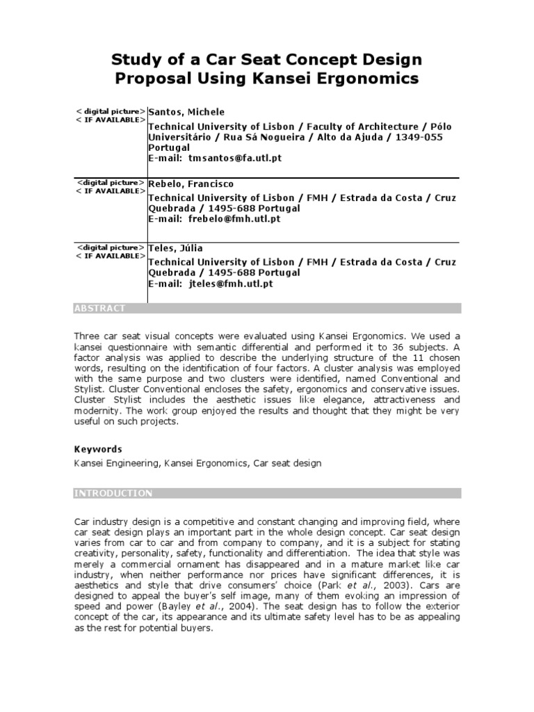 2 Study Of A Car Seat Concept Design Proposal Factor Analysis
