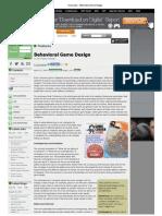 Gamasutra - Behavioral Game Design