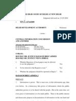 Delhi High Court Order DDA vs CIC