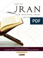 The Blessing of Quran and warning from abandoning it