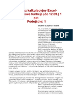 Arkusz Kalkulacyjny Excel- Podstawowe Funkcje (Do 12.03.)
