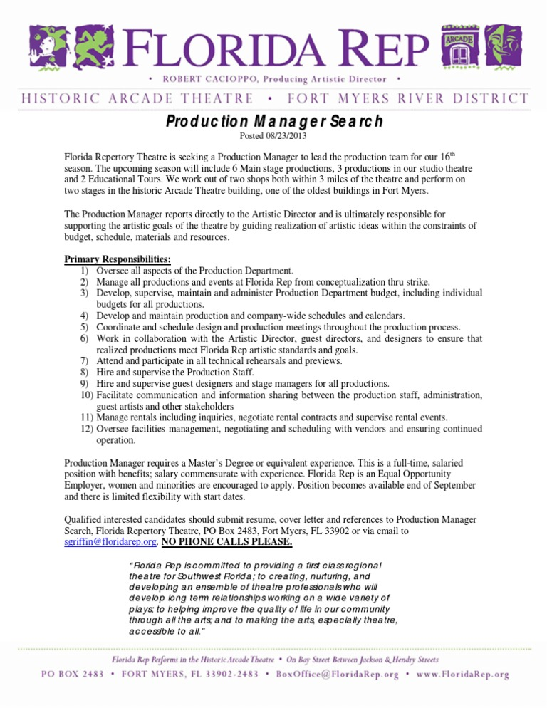 FL Rep Production Mananger Search | Theatre | Employment