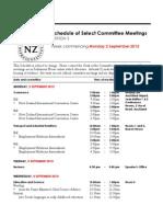 New Zealand Select Committee Meetings September 2-6 2013