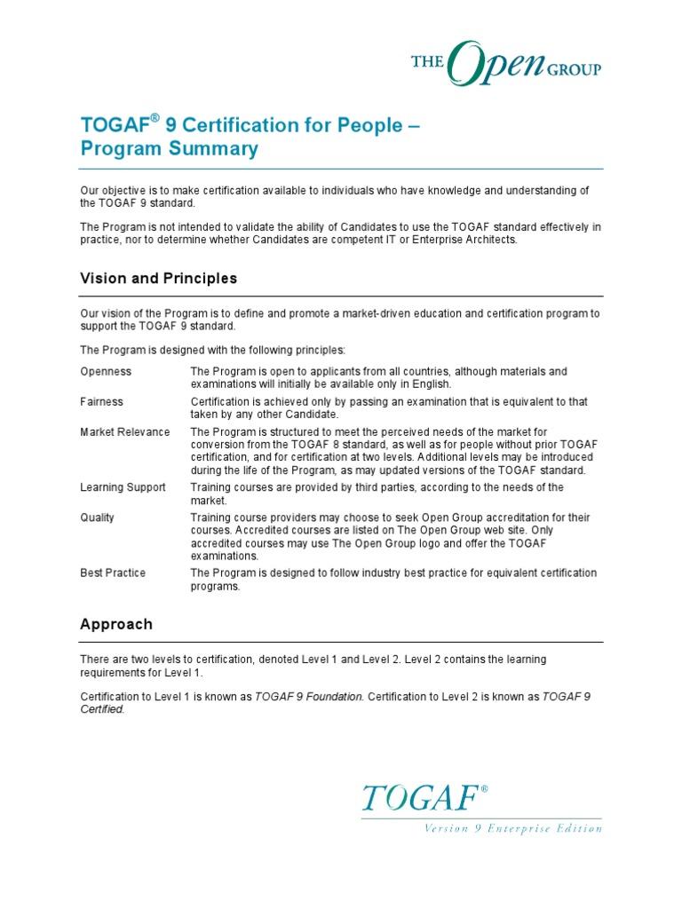 Togaf9 cert summary certification professional certification xflitez Gallery