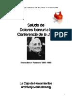 Saludo de Dolores Ibarruri a La Conferencia de La JSU