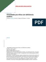 ACTIVIDADES CON  NIÑOS CON DEFIC IENCIA AUDITIVA