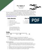 pre-algebra 8 2013 welcome letter