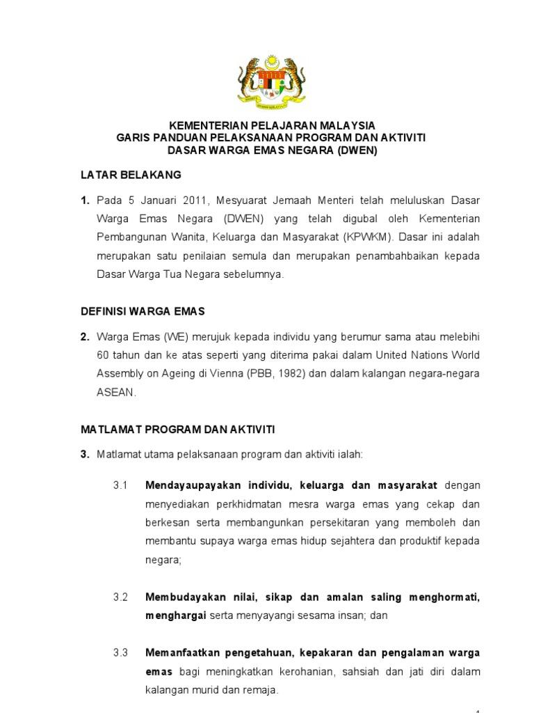 Dasar Warga Emas Negara Diluluskan Di Malaysia