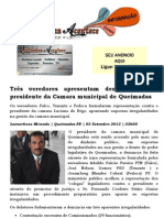 Três veredores apresentam denúncia contra presidente da Camara municipal de Queimadas