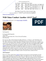 Will China Conduct Another ASAT Test