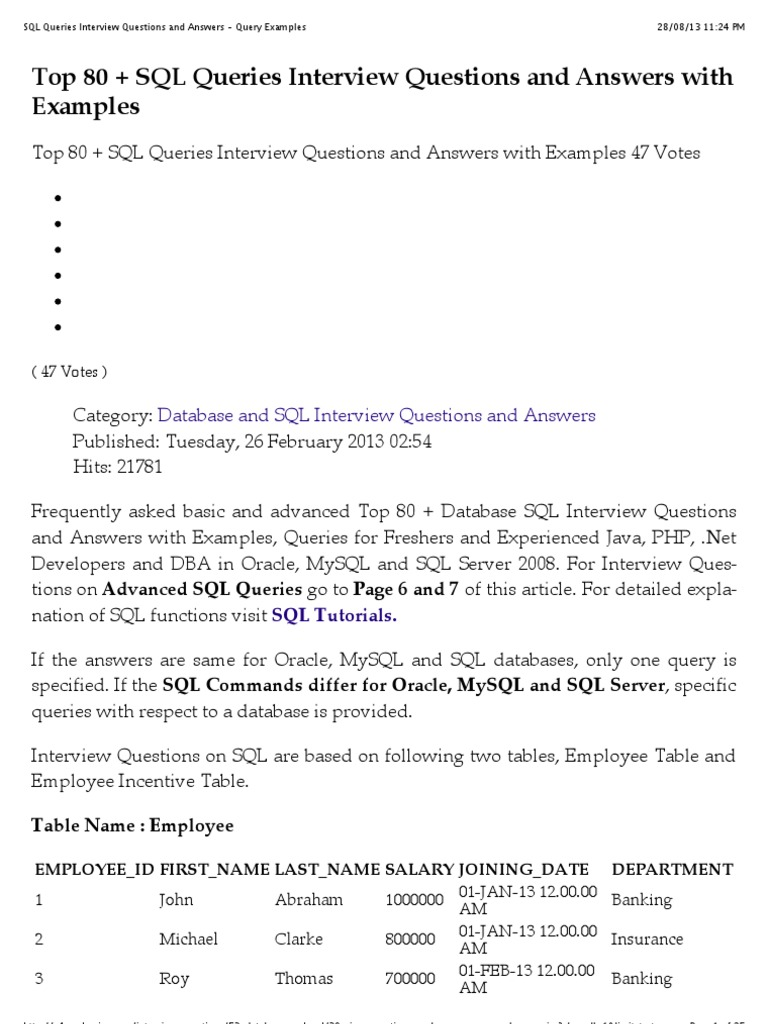 Sql queries interview questions and answers query examples sql sql queries interview questions and answers query examples sql oracle database baditri Image collections