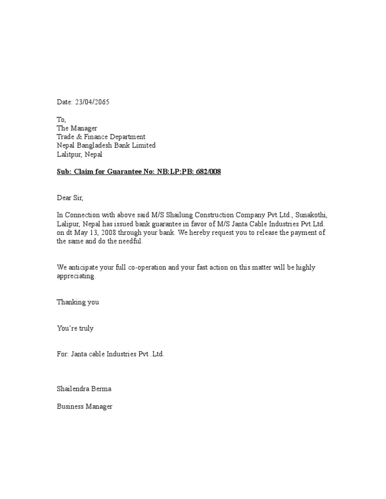 Bank guarantee release letter for Covering letter for bank guarantee