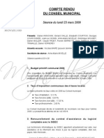 Mignovillard - Compte rendu du Conseil municipal du 23 mars 2009