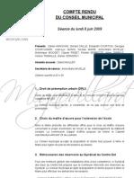 Mignovillard - Compte rendu du Conseil municipal du 8 juin 2009