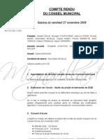 Mignovillard - Compte rendu du Conseil municipal du 27 novembre 2009