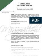 Mignovillard - Compte rendu du Conseil municipal du 5 octobre 2009