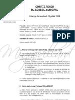 Mignovillard - Compte rendu du Conseil municipal du 10 juillet 2009