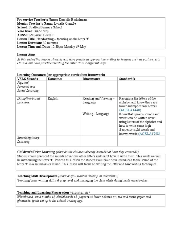 Lesson 2 Handwriting For Preps Educational Assessment Teachers