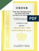 ORDO 2012/2013 - Order for celebrations in September