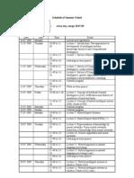 Schedule of Summer School