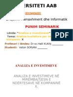 Punim Seminarik - Analiza e Investimeve
