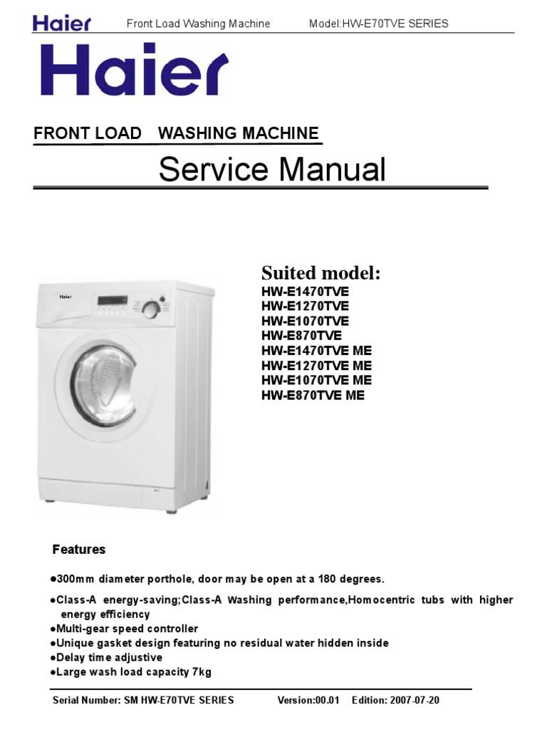Haier Hw E Service Manual Washing Machine Switch Wiring Diagram
