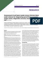 Assessment of Self Taken Swab Versus Clinican Taken Swab Culture for Diagnosing Gonorrhoea in Women