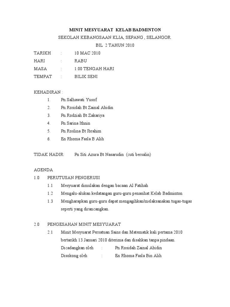 Minit Mesyuarat Persatuan Sains Dan Matematik Bil Docx Document