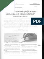 Kritika Naukometrije Ili Naucno Novinarstvo