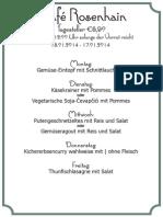 Tageskarte vom Cafe Rosenhain in Graz