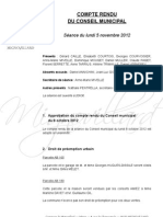 Mignovillard - Compte rendu du Conseil municipal du 5 novembre 2012