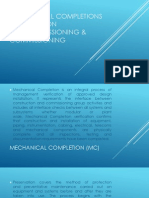 Mechanical Completions and Commissioning of Process Plants