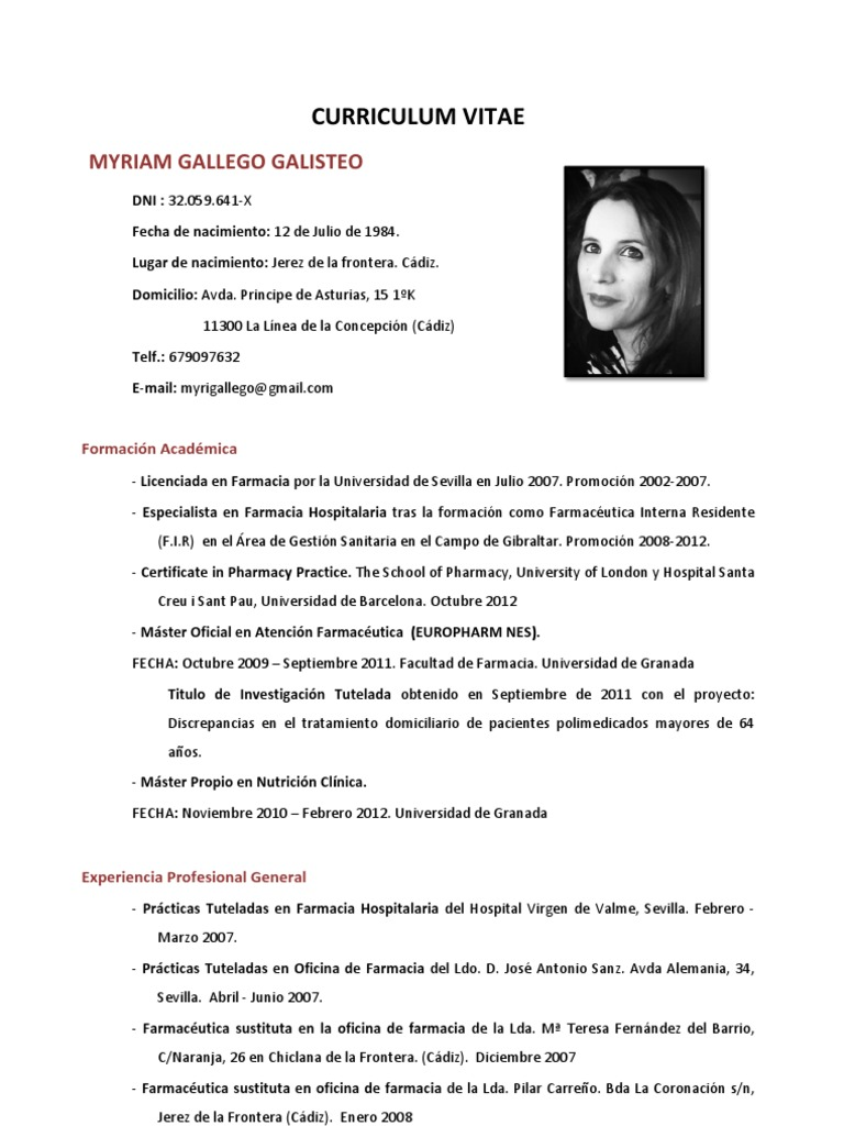 Vistoso Curriculum Vitae Farmacéutico Ornamento - Ejemplo De ...