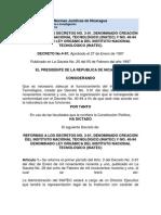 LEY ORGÁNICA DEL INSTITUTO NACIONAL TECNOLÓGICO (INATEC)  Reformas 1997