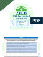 MCB Bank Limited Half Year Results - 2013 Presentation