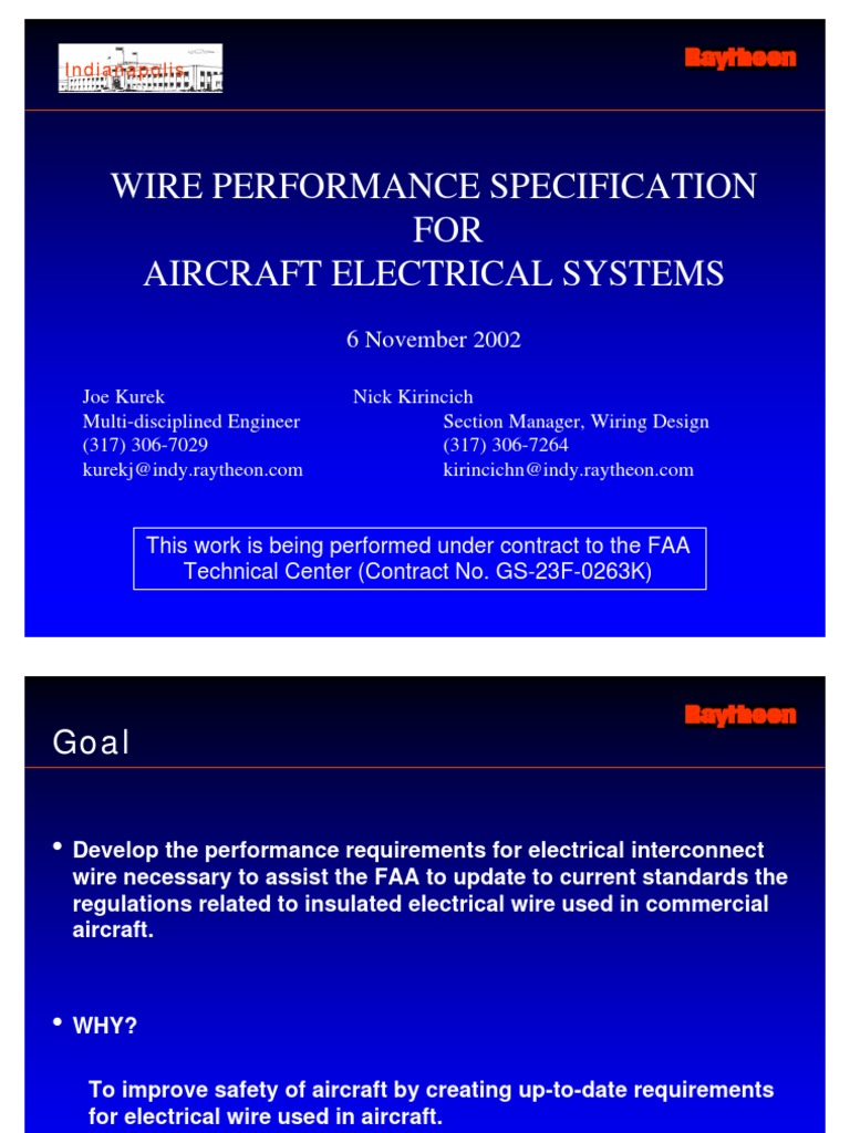 Wire Performance Specification For Aircraft Electrical Systems Wiring Standards Technical Standard