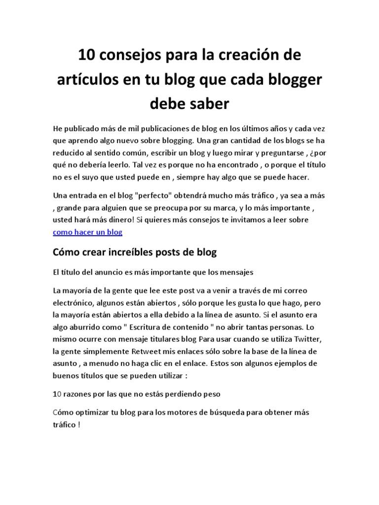 10 Consejos Para La Creacion de Articulos en Tu Blog Que Cada ...