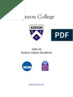 Kenyon College Student Athlete Handbook