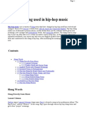 List of Slang Used in Hip-hop Music | Hip Hop Music