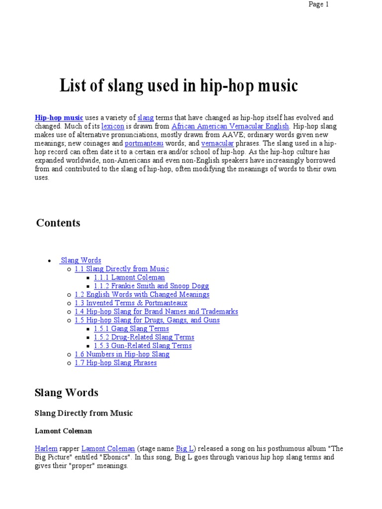 List of Slang Used in Hip-hop Music | Hip Hop Music