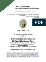 Memorias XIV Coloquio Sobre Cultura, Historia e Identidad Del Sur de Sonora