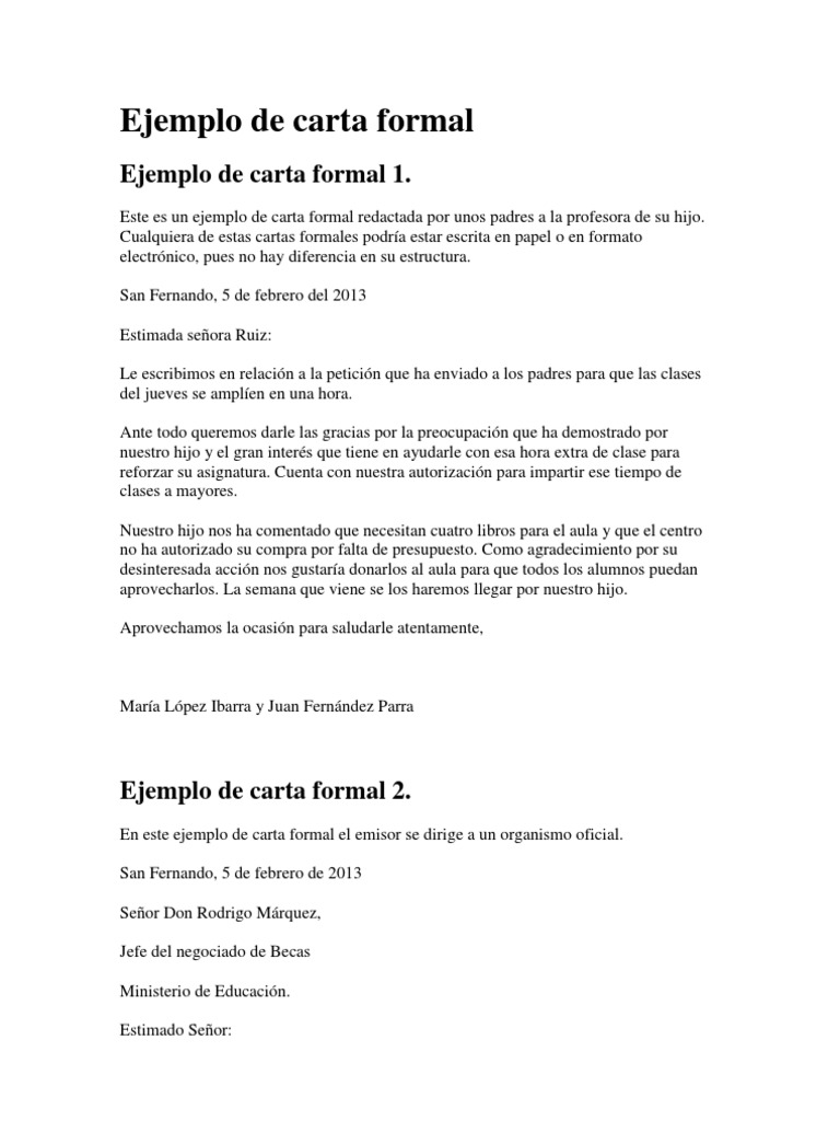 ejemplos de carta formal