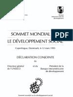 Sommet Mondial Sur Le Developpement Social