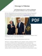 John Kerry' s Message to Pakistan