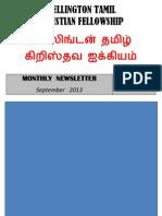 Wellington Tamil Christian Fellowship News Letter - Sept 2013