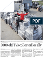 2000 old TVs collected locally (Timaru Herald; 2013.08.27)