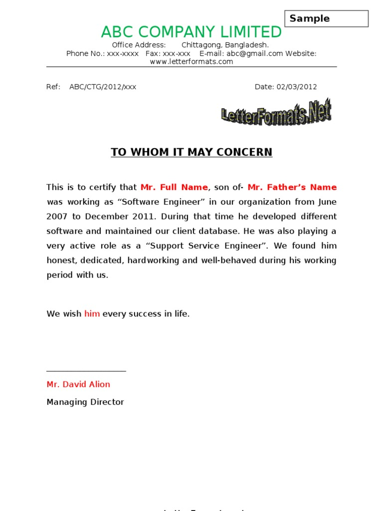 To Whomsoever It May Concern Experience Certificate Format